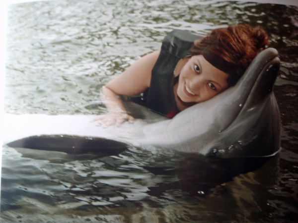 Jenna swimming with the dolphins in Hawaii